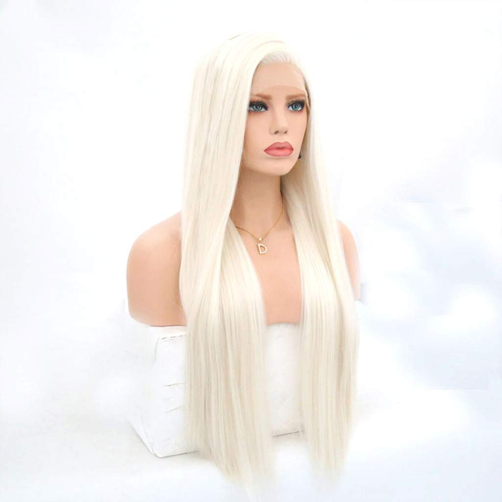 JYS 26 Inches Women Special Natural Long Straight Side Bangs Synthetic Wig Long Straight White Wigs Ladies Women's Full Head Cosplay Anime Costume Party Wig Halloween (White) by JYS (Image #3)