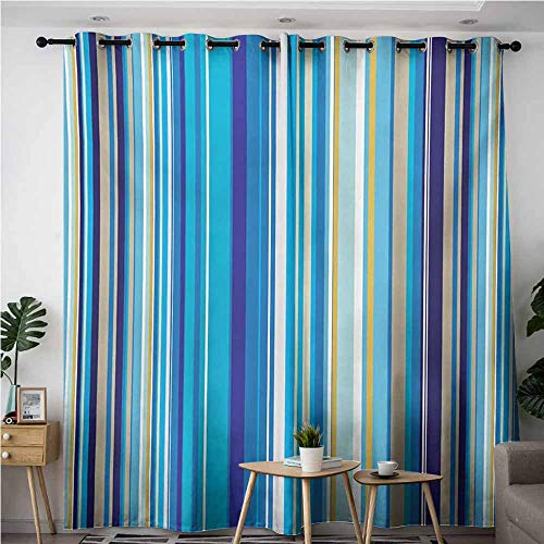 Stripe Repeating - AndyTours Grommet Curtains,Blue,Vertical Stripes Repeating Retro Revival Pattern Funky Abstract Composition,Space Decorations,W120x96L,Mustard Blue White