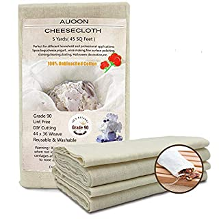 5 Yards 45 Square Feet Grade 90 Cheese Cloth,100% Unbleached Cotton Fabric Ultra Fine Cheesecloth for Cooking,Strainer,Nut Milk Bag,Filter