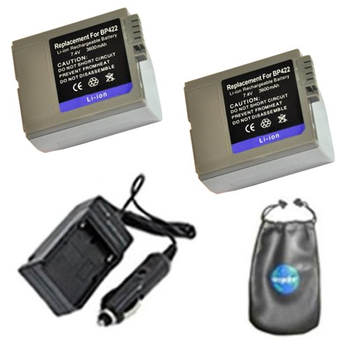 ValuePack (2 Count): Digital Replacement Battery PLUS Mini Battery Travel Charger for Specific Digital Camera and Camcorder Models / Compatible with Canon BP-422, BP-412, BP-406, BP-407, MVX10i, Optura 300, DM-MV3, DM-MV4, DM-MV4i, DM-MV4iMC, Elura: 10, 10MC, 2MC, 20, 20MC, MV3, MV3MC, MV3i, MV3iMC, MV4, MV4i, MV4iMC, IXY: DV, DV 2, DVM2, DVM2-V Charges with Intelligent Charge Technology - Includes Car Adapter, TWO Batteries and ONE Leatherette Camera / Lens Accessories Pouch