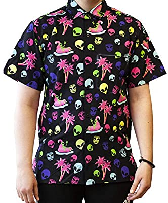 Funny Guy Mugs Men's Hawaiian Alien Button Down Short Sleeve Shirt