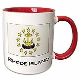 3dRose mug_107389_5 Rhode Island State Flag Ceramic, 11 oz, Red/White