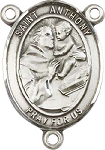 Sterling Silver Saint Anthony Of Padua Rosary Centerpiece Medal  3 4 Inch
