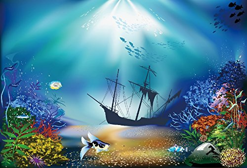 Under The Sea Backdrop - Yeele 10x8ft Photography Backdrop Tropical Fish Coral Sunshine Seabed Shipwreck Underwater Blue Sea Floor Photo Backdrop Portrait Shooting Studio Props Wallpaper