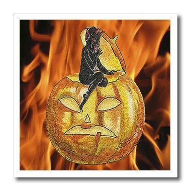 3dRose Sandy Mertens Vintage Halloween Designs - Devil on Jack o Lantern with Modern Flames Background - 6x6 Iron on Heat Transfer for White Material (ht_53710_2)