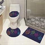 Lantern 3 Piece Bathroom Contour Rugs Candles in Night Sketch in with Dots Arabian Motifs Custom made Rug Set Dark Purple Multicolor