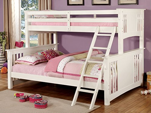 - Furniture of America Denny TwinXL-Queen Bunk Bed, White