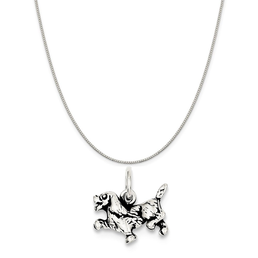 Mireval Sterling Silver Antiqued Dog Charm on a Sterling Silver Carded Box Chain Necklace 18