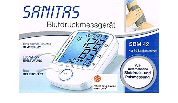 Sanitas Tensiómetro de brazo sbm42/SBM 42 para ermittel de valores desde el tensiómetro: Amazon.es: Salud y cuidado personal