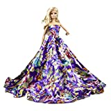 Purple Floral Silk Ball Gown for Barbie Doll