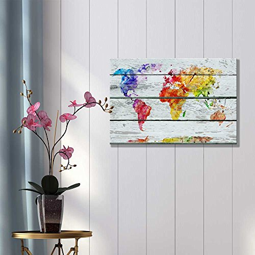 Abstract Colorful World Map on Vintage Wood Background Rustic ation