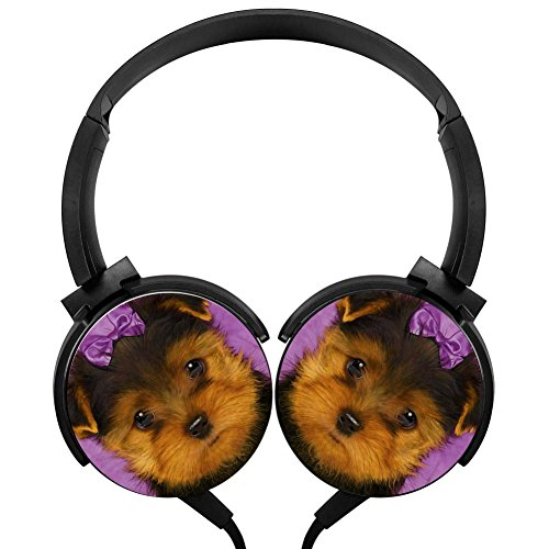 Terrier Puppy Stereo Headphones Lightweight With Mic Over Ear, Running Headsets For Iphone, Ipad, Smartphone And Tv 3.5Mm Black