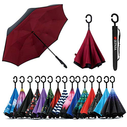 Spar. Saa Double Layer Inverted Umbrella with C-Shaped Handle, Anti-UV Waterproof Windproof Straight Umbrella for Car Rain Outdoor Use (New Wine Red) ()
