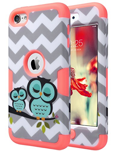 ULAK iPod Touch Case,iPod 6 Case,iPod Touch 7 Case, Heavy Duty Protective High Impact Design Summer Case Hybrid Skin Cover for iPod 5 6th / 7th Generation, Owl_Mint Pink (Ipod 5 Generation Cartoon Cases)