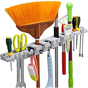 Anybest Utility Mop Broom Holders Wall Mounted Garden Tool Rack Storage  Racks Garage Storage U0026 Organization For Rake Or Mop Handles Up To  1.25 Inches With 6 ...