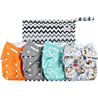 Anmababy 4 Pack Adjustable Size Waterproof Washable Pocket Cloth Diapers with...