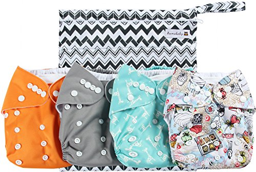 Anmababy 4 Pack Adjustable Size Waterproof Washable Pocket Cloth Diapers with 4 Inserts and Wet Bag