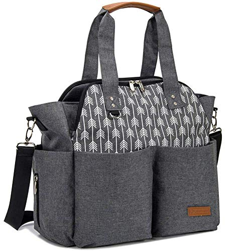 Lekebaby Large Diaper Tote Bag for Mom and Dad - Baby Diaper Satchel Bag with Insulated Pockets & Changing Pad & Stroller Straps in Grey, Arrow Print