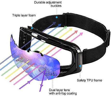 Sports de Plein Air Lunettes de Ski V/élo NAFFIC Masque de Ski Motoneige Anti-Brouillard Lunettes de Snowboard sans Protection UV OTG Coupe-Vent et R/églage /élastique pour Le Ski