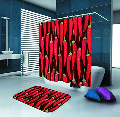 - SARA NELL Red Cayenne Chili Pepper Shower Curtain and Rug Set for Bathroom,Waterproof Polyester Fabric Shower Curtain(72