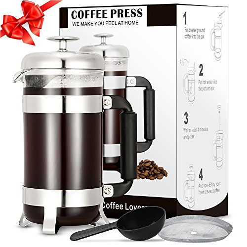 French Press Coffee Maker, TOP-MAX French Press Coffee & Tea Makers 8 Cup (1 liter, 34 oz)-Best Coffee Press Pot with 304 Grade Stainless Steel & Heat-Resistant Borosilicate Glass