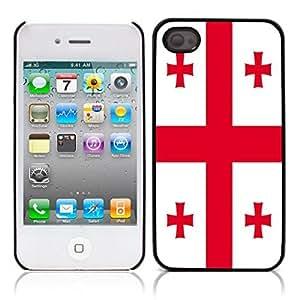 Georgian flag Hard Plastic and Aluminum Back Case for Apple iphone 4 4S
