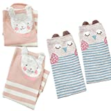 2 Sets Owl Knee High Cotton Socks for Girls Heat Retainer Winter Thermal Socks, Boot Socks (M)