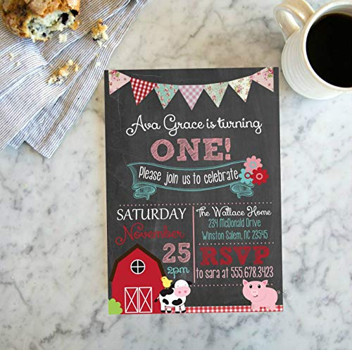 Girls Barnyard Farm, Chalkboard Invitation, Shabby Chic Famr Invite, First Birthday Digital Printable File, Listing #819