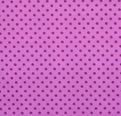 Knit Blueberry Purple Small Dots Design Fabric By the Yard, 95% Cotton, 5% Lycra, Gorgeous Knit, Great Quality, 60 Inches Wide, Very Stretchy, 4 Way Stretch (4 yards) -