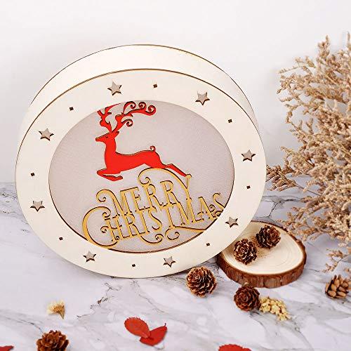 eZAKKA Christmas Reindeer Nightlight Desk Kids Bedroom Decoration Lamp Colorful Santa Wooden Decor by eZAKKA (Image #8)