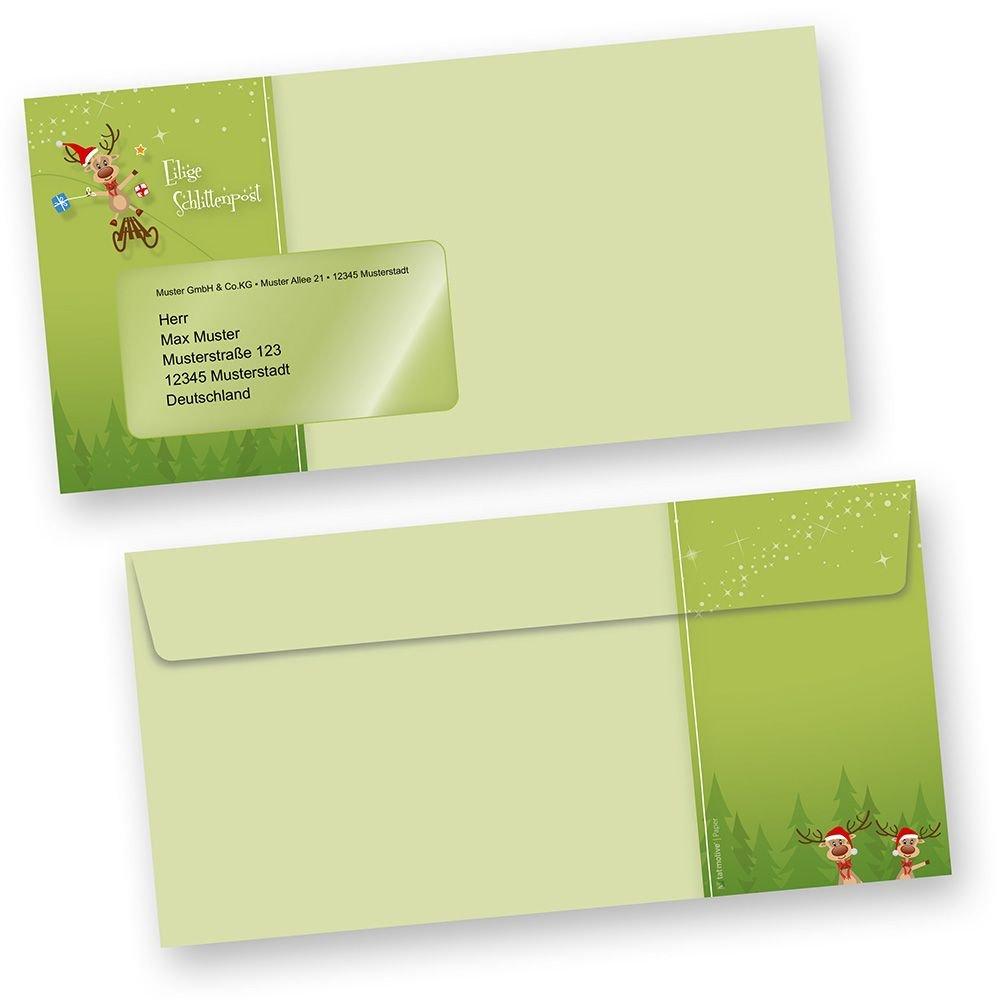 Briefumschläge Weihnachten Rentiere Rentiere Rentiere 500 Stück DIN lang mit Fenster, grün witzig Besteellen B012SZ3380 | Nutzen Sie Materialien voll aus  ad1a9d