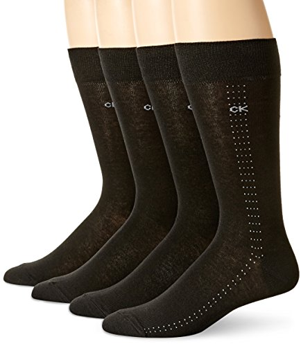 Lightweight Dress Socks - Calvin Klein Men's Crew Dress Socks - Bonus 4 Pack, Black, Large