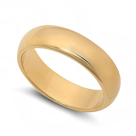 5 5mm 14k Yellow Gold Heavy Plated Smooth Domed Wedding Band Ring