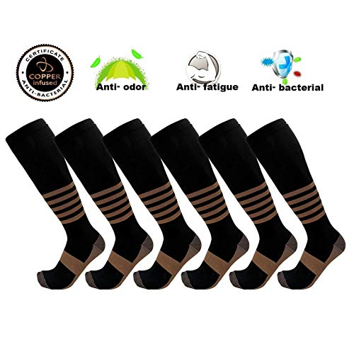 Copper Compression Socks for Men & Women Knee High Stocking Support Relief Recovery Plantar Fasciitis, Varicose Veins, Calf Pain – Running, Nursing, Travelling, Pregnancy & More (C01 Black 6PK, L/XL)