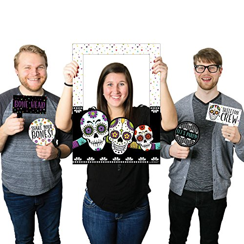 Day of The Dead - Halloween Sugar Skull Party Selfie Photo Booth Picture Frame & Props - Printed on Sturdy Material