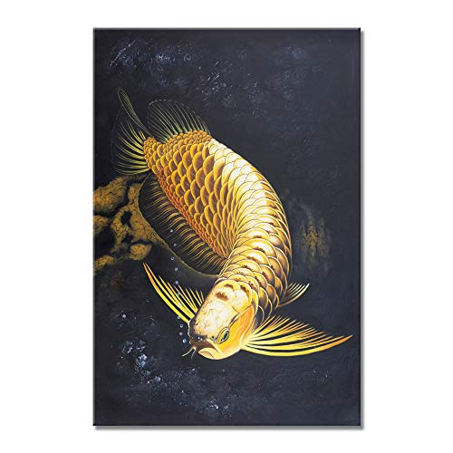 VIIVEI Koi Fish Canvas Wall Art Contemporary Gold Animal Home Decor Decals for Bedroom Living Room Print Poster Large Modern Painting Black Background Picture Framed Ready to Hang