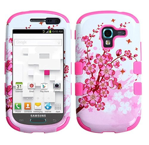 MyBat Samsung T599 (Galaxy Exhibit) TUFF Hybrid Phone Protector Cover - Retail Packaging - Spring Flowers/Electric Pink