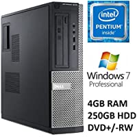 Dell Optiplex 3010 Business Desktop PC, Intel Pentium Dual Core Processor, 4GB DDR3 RAM, 250GB HDD, DVD+/-RW, Windows 7 Professional (Certified Refurbished)