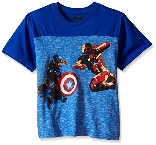 Marvel Boys' Captain America T-Shirt, Royal, 8 (America Clothes Kids compare prices)