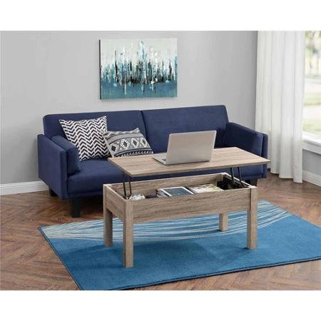 Lift-top Coffee Table,in Sonoma Oak Finish Made of Composite Wood Great for Mobile Computing, Dining and Crafting