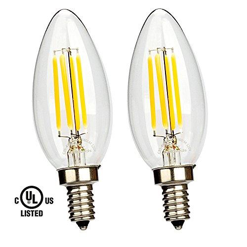Leadleds 4W LED Filament Candelabra Bulb, E12 base 2700K Warm White 380 Lumens B11 Candle LED Bulb, 40W Equivalent LED Chandelier Bulb UL Listed, 2-Pack 40w Lumens