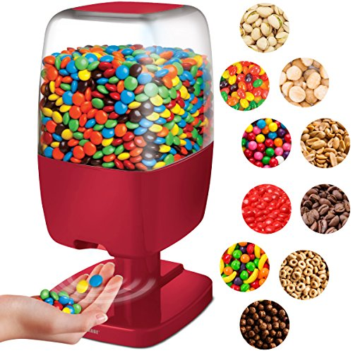 Sharper Image Motion Activated Candy Dispenser For Gumballs  Nuts  Snacks  Touchless Sensor Detector For Hands Free Easy Fill Treat Canister For Kids  Adults  Battery Operated For Home Office  Red