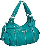 Laurel&Sunset Kia Teal Crossbody Convt. Utilitarian Hobo Handbag