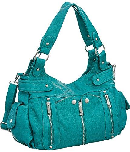 Laurel&Sunset Kia Teal Crossbody Convt. Utilitarian Hobo Handbag by Laurel and Sunset