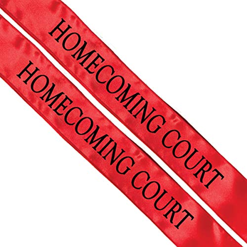 Homecoming Court Red and Black Sashes, Pack of 2 -