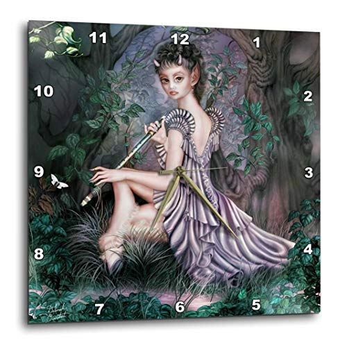 3dRose DPP_11646_1 an Mythical Elf Creature of The Forest Who Plays A Haunting Melody on an Enchanted Flute-Wall Clock, 10 by 10-Inch ()