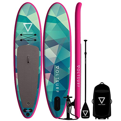 Paddle Whisk - VoltSurf - 11' All-Around - iSUP Inflatable Paddle Board Kit + Leash & Backpack w/Wheels (6 Inch Thick)