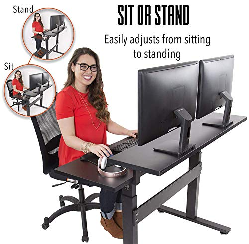 Stand Steady Tranzendesk 47 Dual Level Standing Desk Go from Sitting to Standing with Easy Crank Handle Sit to Stand Up Desk Black Top Black Frame