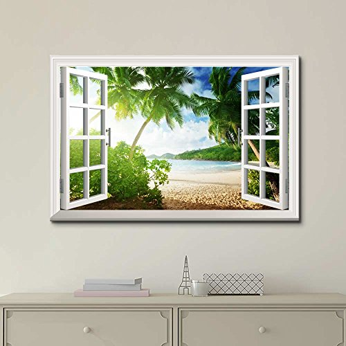 Window Frame Style Wall Decor Sunset on The Tropical Beach with Palm Trees Stretched