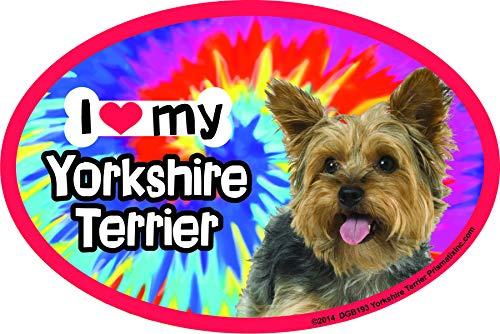 (Prismatix Decal Yorkie Car Magnets: I (Heart) My Yorkie Tie Dye - Oval 6
